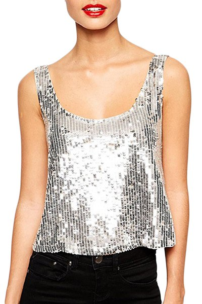 Silver Sequins Scoop Neck Tank Top SILVER: Tank Tops | ZAFUL