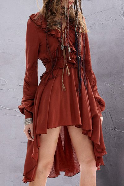 V Neck Long Sleeve Solid Color Ruffled Dress