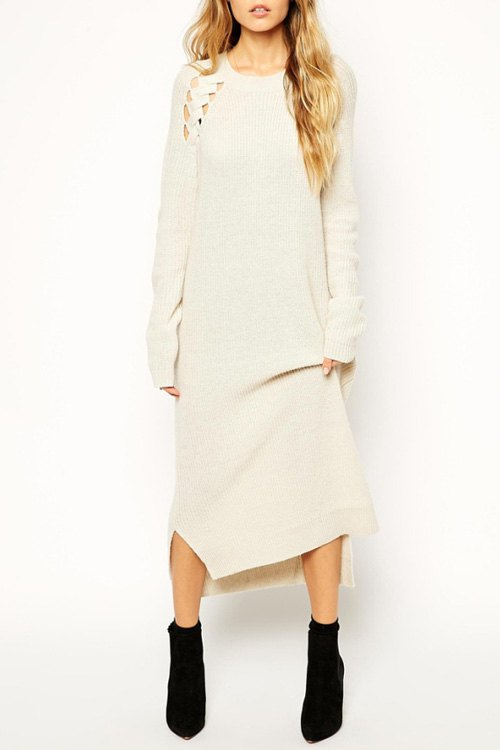 High Low Sweater Dress Cut Out High Low Hem Sweater