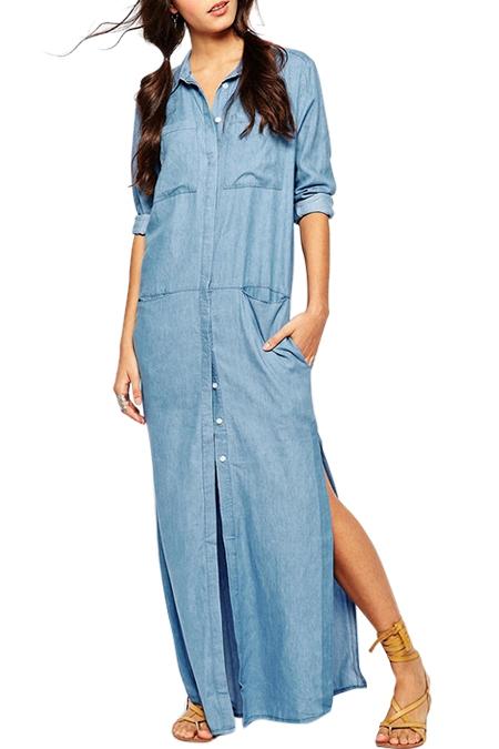 Denim Long Sleeve Maxi Dresses