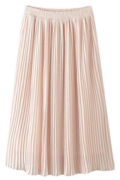 pleated chiffon a line skirt pink skirts zaful