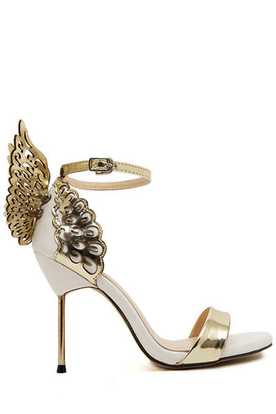 Buy Wings Hollow Out Stiletto Heel Sandals GOLDEN 38