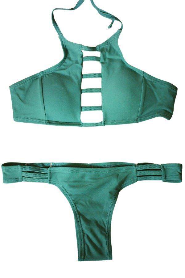 Spaghetti Strap Tie-Up Hollow Out Bikini Set - GREEN S