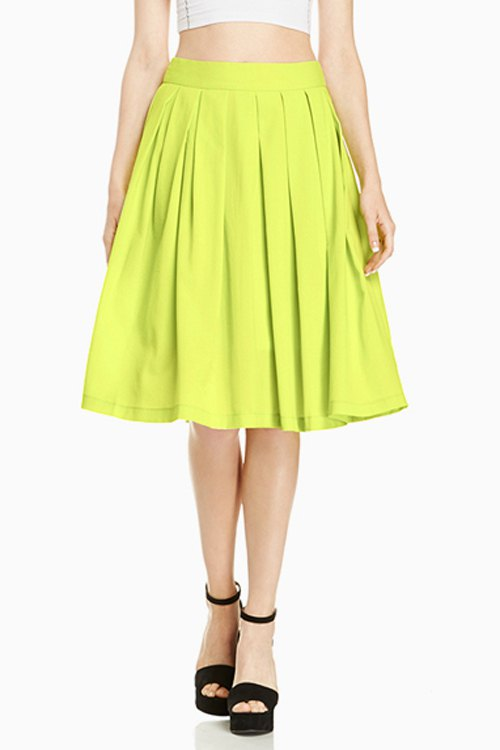solid color a line midi skirt neon green skirts zaful