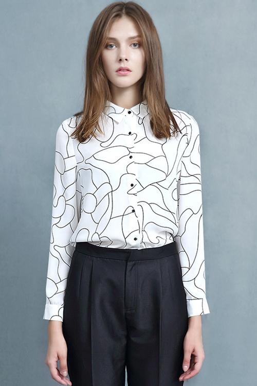 Polo Collar Black Stripes Print Long Sleeve Shirt