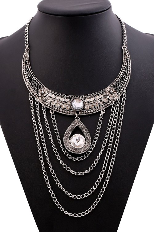 Rhinestone Tassel Drop Necklace