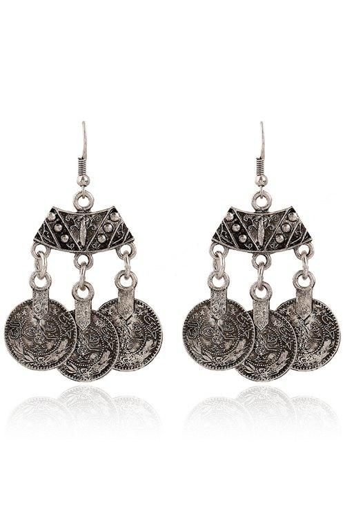 Vintage Coin Pendant Earrings For Women