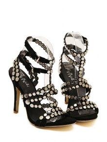 Sexy High Heel Suede Rivets Sandals - BLACK 35
