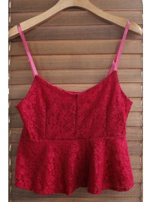 Spaghetti Strap Solid Color Ruffled Lace Tank Top
