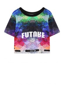 Letter Print Color Block Short Sleeve T-Shirt