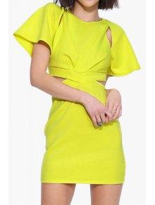 Yellow Cut Out Short Sleeve Dress - Yellow Xl