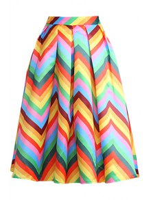 Zig Zag Print A Line Midi Skirt