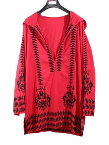 Hooded Long Sleeve Totem Embroidery Red Dress - Red