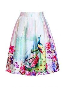 A Line Peacocks Print Midi Skirt
