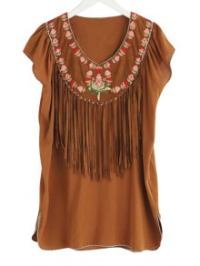 V-Neck Flower Embroidery Tassels Spliced Dress - Camel M