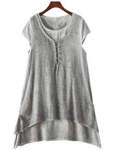 Multi-Layered Button Short Sleeve Dress - Gray M