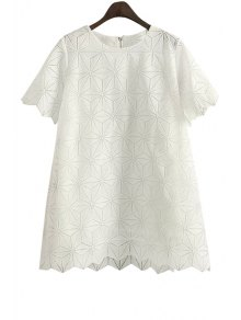 Argyle Pattern Solid Color Short Sleeve Dress - White S