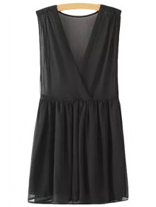V-Neck Solid Color Ruffle Sleeveless Dress - Black M