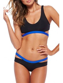 Bandage Blue Black Splicing Bikini Set