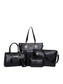 Patent Leather Crocodile Print Shoulder Bag