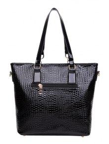 Patent Leather Crocodile Print Shoulder Bag - BLACK