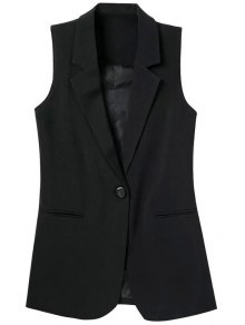 Lapel Pocket Solid Color Sleeveless Waistcoat - Black S