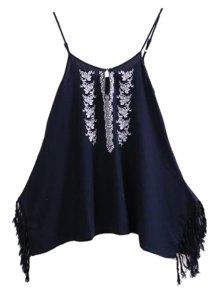 Spaghetti Strap Floral Embroidery Fringe Splicing Dress - Purplish Blue M