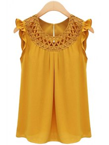 Round neck solid color openwork flounce chiffon tank top yellow tank