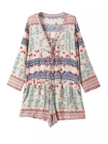 Tiny Floral Print Tie-Up Long Sleeve Romper