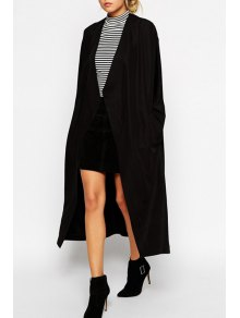 Collarless Solid Color Long Sleeve Trench Coat