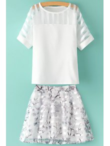 See-Through Solid Color T-Shirt + Floral Print Skirt