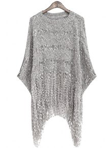 Fringe Openwork Long Sleeve Sweater