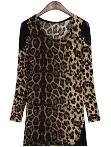 Leopard Pattern Lace Splicing Long Sleeve T-Shirt