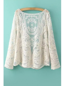 See-Through Leaves Pattern Long Sleeve Blouse