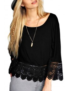 Crochet Spliced Nine-Minute Sleeve T-Shirt - Black Xl
