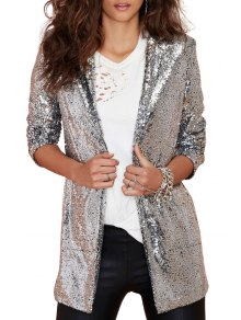 Lapel Solid Color Sequins Long Sleeve Blazer - Silver