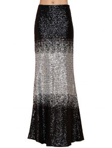 Black White Splicing Sequins Long Skirt