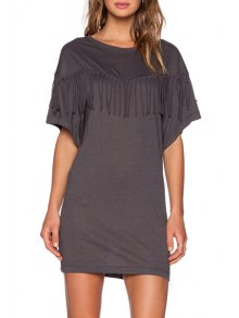 Bat-Wing Sleeve Tassels Spliced Gray Mini Dress - Deep Gray M