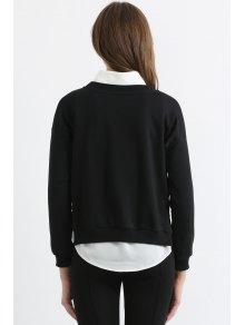 White Eyelash Print Long Sleeve Sweatshirt - BLACK L