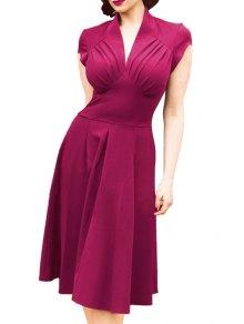 V-Neck Solid Color Ruffle Short Sleeve Dress - Violet Xl