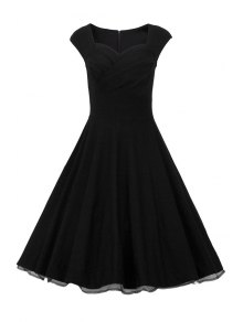 Sweetheart Collar Solid Color Ruffle Dress - Black S
