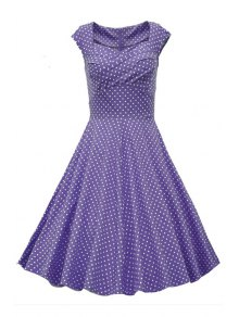 Sweetheart Collar Polka Dot Ruffle Short Sleeve Dress - Purple L