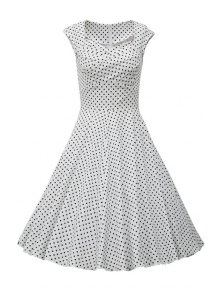 Sweetheart Collar Polka Dot Ruffle Short Sleeve Dress - White M
