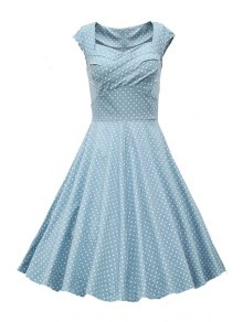 Sweetheart Collar Polka Dot Ruffle Short Sleeve Dress - Light Gray M