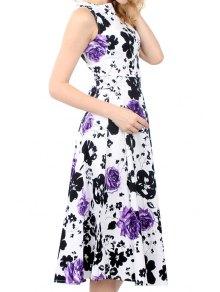 Floral Print Tie Knot Sleeveless Dress - Purple Xl