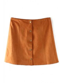Faux Leather High Wasited A Line Skirt