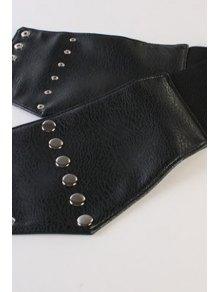 Stud PU Leather Elastic Waistband