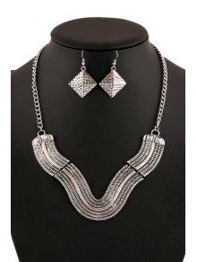 V Shape Geometric Necklace And Earrings