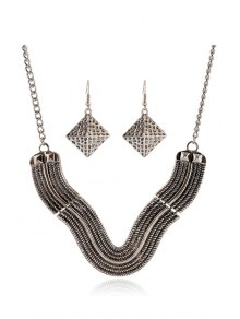 V Shape Geometric Necklace And Earrings - SILVER