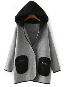Hooded Lamb Wool Pocket Long Sleeve Cardigan